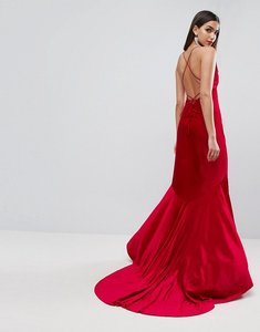 Read more about Asos red carpet velvet deep plunge strappy maxi dress - red