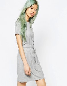 Read more about Asos drawstring waist t-shirt dress - silver grey marl