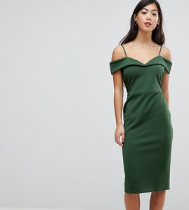 7eb87b89038bb Read more about Asos petite scuba strappy bardot pencil midi dress - forest  green