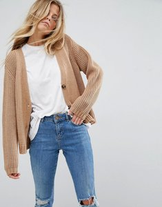 Read more about Asos design chunky knit cardigan with buttons - camel