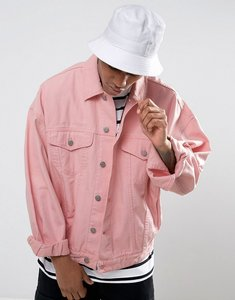 Read more about Asos denim jacket in oversized fit in pink - pink