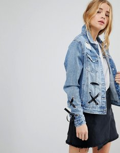 Read more about Urban bliss lace up denim jacket - lightwash blue