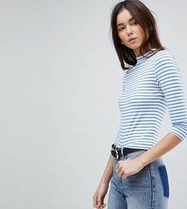 Read more about Asos tall stripe high neck crop top with 3 4 sleeve - white denim blue