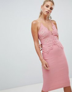 Read more about Rare london scallop place bodice midi dress - pink