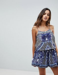 Read more about Island stories beach playsuit with coin trim - blue