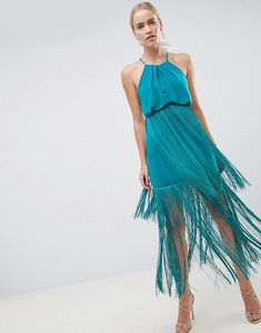 Read more about Asos design strappy back fringe maxi dress - tropical green