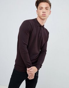 Read more about Brave soul knitted long sleeve polo - burgundy