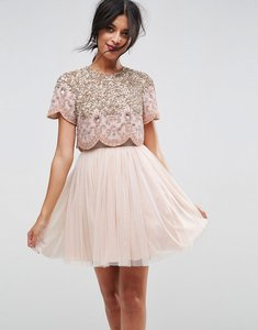 Read more about Asos heavily embellished tulle mini prom dress - nude
