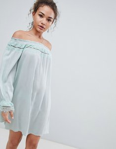 Read more about En creme off shoulder long sleeve dress with lace trim