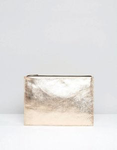 Read more about Asos leather metallic zip top clutch bag - rose gold