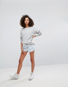 Read more about Pull bear light wash rip detail denim shorts - blue