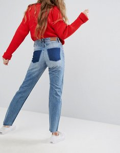 Read more about Monki dye patch pocket mom jeans - blue
