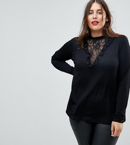 Read more about Asos curve top with choker detail and lace panel - black