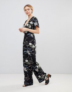 Read more about Girls on film floral jumpsuit with kimono sleeves - black floral print