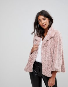 Read more about Jayley curly faux fur collared cropped jacket - pink