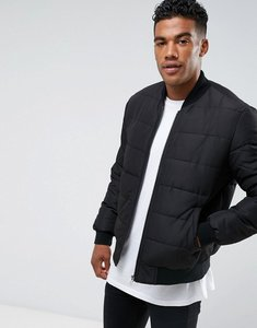 Read more about Asos quilted bomber jacket in black - black