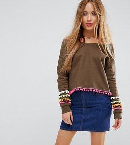 Read more about Asos petite off shoulder cropped pom pom sweatshirt - khaki