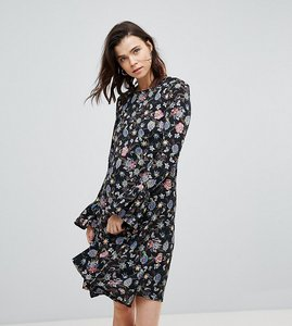 Read more about Glamorous tall shift dress with flare cuffs in antique floral - black floral