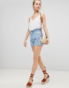Read more about Jdy paperbag shorts with braiding detail - light blue denim