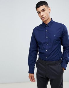 Read more about Polo ralph lauren slim fit poplin shirt player logo phillip collar in navy - newport navy