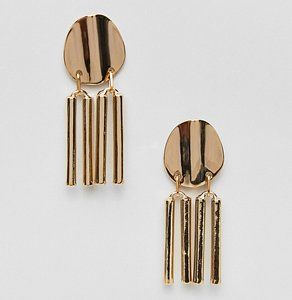 Read more about Asos gold plated disc and stick drop earrings - gold