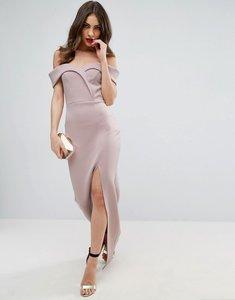 Read more about Asos scuba bardot wrap maxi dress - nude