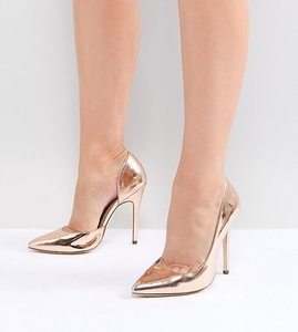Read more about London rebel wide fit pointed high heels - rose gold