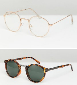 8aa7aa290b Read more about Asos design round sunglasses 2pk in gold tort save - gold