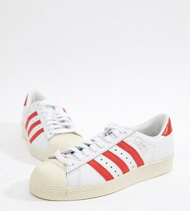 Read more about Adidas originals superstar og trainers in white and red - white