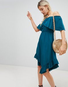 Read more about Lunik off shoulder midi dress with hanky hem - teal