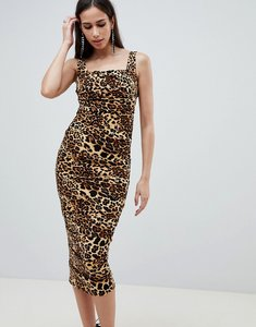 Read more about Asos design slinky leopard print midi dress - animal