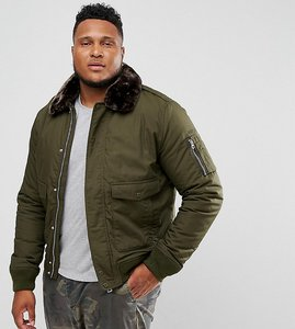Read more about Schott plus air bomber jacket detachable faux fur collar slim fit in green brown - dark khaki