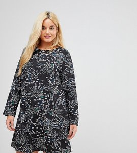 Read more about Alice you long sleeve swing dress in garden floral - black multi