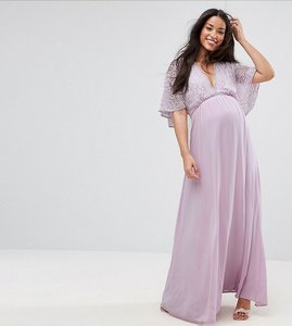 Read more about Queen bee maxi dress with fluted lace sleeve - lavender