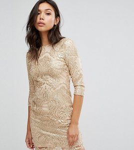 Read more about Tfnc allover sequin dress with scalloped open back - gold