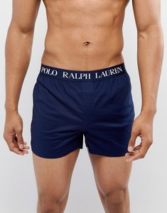 Read more about Polo ralph lauren slim fit woven boxers logo waistband in navy - cruise navy
