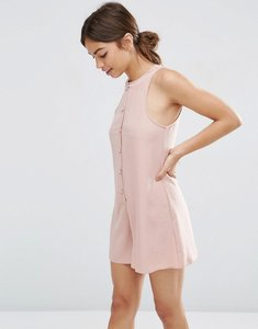 Read more about Asos high neck button front swing playsuit - dark blush