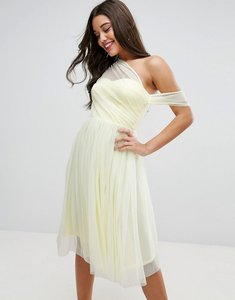 Read more about Asos dobby mesh one shoulder prom dress - yellow