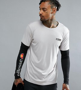 Read more about Ellesse sport long sleeve t-shirt with layered sleeve - grey