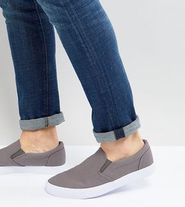 Read more about Asos wide fit slip on plimsolls in grey canvas - grey