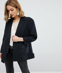 Read more about Vero moda boyfriend blazer with shoulder pads - black