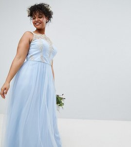 Read more about Chi chi london plus bardot neck sleeveless maxi dress with premium lace and tulle skirt - bluebell g