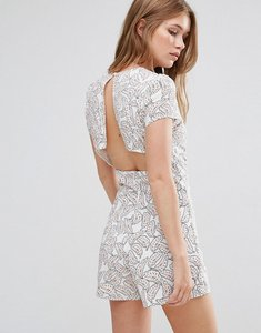 Read more about Goldie reily v neck playsuit with open back detail in feather print - print