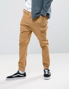 Read more about Asos drop crotch cargo joggers in cord - honey mustard