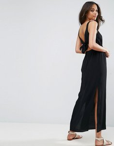 Read more about Asos open back maxi dress with bow detail - black