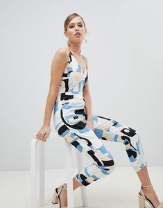 Read more about Lavish alice abstract print strappy jumpsuit - multi