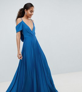 Read more about Asos design tall cold shoulder cowl back pleated maxi dress - blue