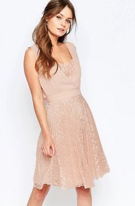 Read more about Elise ryan pleated skater dress with lace skirt - pink