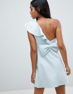 Read more about Asos design ruffle shoulder scuba mini dress with bow back - blue