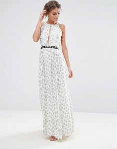 Read more about True decadence printed maxi dress with eyelet detail waist - white ditsy floral